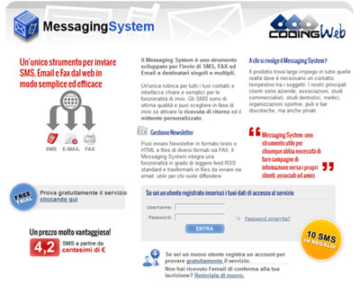 Messaging System invio sms da web